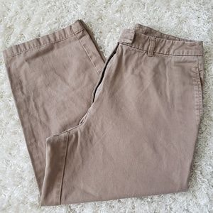 LL Bean tan chino trouser capris